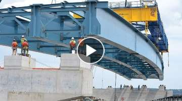 This Modern Bridge Construction Method is Very INCREDIBLE, Amazing Construction Equipment Machine...
