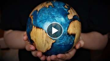 Woodturning - The Blue Planet - Log to Globe