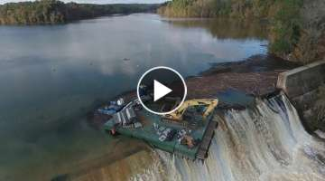 Drone footage: Barge dislodged near Stevens Creek Dam