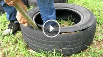 How to cut a tire and make it into a garden pot.