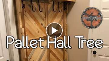 Hall Tree Built From Reclaimed Pallet Lumber!