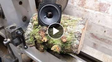 Woodturning - Log to Speaker 100k Giveaway too!