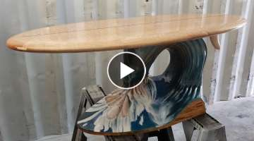 Building a Surfboard Coffee Table Wood Sculpture