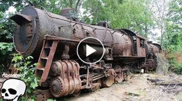 Abandoned trains. Old abandoned steam engine trains in USA. Abandoned steam locomotives