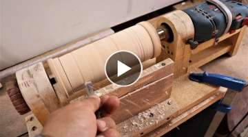 How to Make a Simple Drill Powered Lathe machine at Home | DIY .