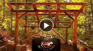 Bushcraft Super Shelter Style Wood Shed | Deer Meat for Dinner BBQ