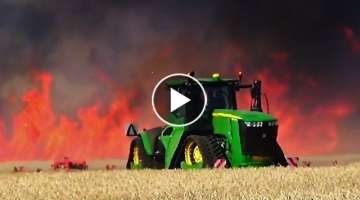 2x John Deere 9620RX - Biggest fire Action