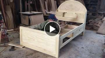 Amazing Skill Carpenter Woodworking Asia // Build Single Bed With Storage Drawers, How To, DIY