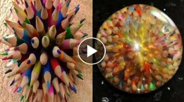 Woodturning - Coloured Pencil Explosion Sphere