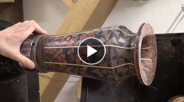 Woodturning - Mosaic resin vase