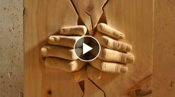Wood Carving Hands Out of the Wall (Timelapse)