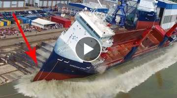 Big Ship Launch Compilation | 12 Awesome Ship Launches, Fails and Close Calls