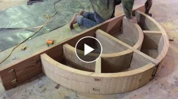Amazing Techniques Woodworking Carpenters Craftsman - Building Architectural A Curved Wood Comple...