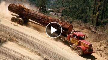 Dangerous Logging Truck climbing Steep Hills and Crossing Wooden Bridges