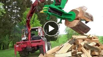 Extreme Fast Homemade Firewood Machinery ! Wood Cutting And Splitting Firewood With Excavator