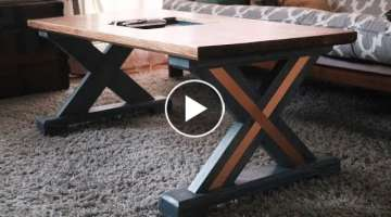 X Leg Coffee Table With Copper Inlay // IGBC 5