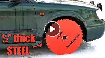 Testing Saw Blade Wheels on Frozen Lake!