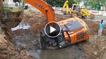 TATA HITACHI Excavator Stuck in Deep Mud