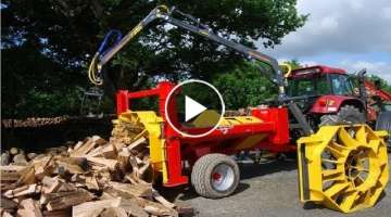 World Amazing Fastest Firewood Processing Machine Latest Techbology Splitter and Cutting wood Sma...
