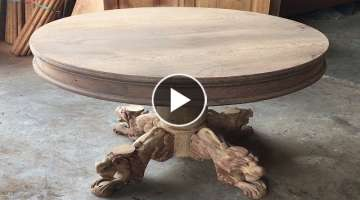 Woodworking Projects Fastest Easiest // Make A Round Table With Woodturning Legs Extremely Delica...