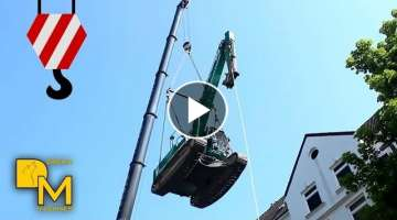 EXCAVATOR FLYING THROUGH THE AIR! SPECTACULAR ACTION WITH CRANE
