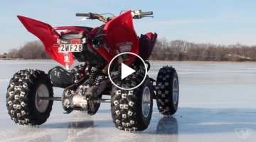 Ice Riding with Snowmobile Studs on my Raptor 700