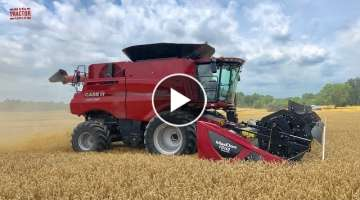 All New Case IH 8250 Axial-Flow Combine Harvesting Wheat
