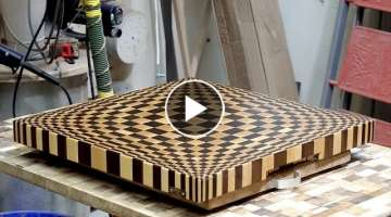 Making 3D end grain cutting board #13