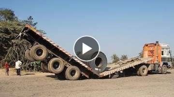 10 Extreme Dangerous Idiots Dump Truck Operator Skill - Fastest Deep River Crossing Truck Driving