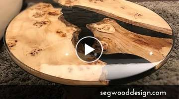 Epoxy round coffee table - black epoxy and poplar