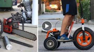Chainsaw engine 3 wheel scooter