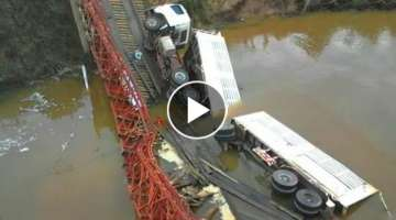 Idiot Logging and Dump Trucks Collapse Wooden Bridges and Crossing Rivers Fails