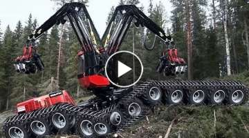 Dangerous Fastest Chainsaw Cutting Tree Machines, Big Felling Tree Heavy Equipment Machine