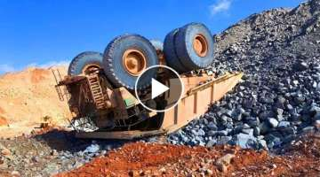 Extremely Dangerous Dump Truck Operator Wins and Fails - Biggest Heavy Equipment Machines Working...