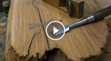 Woodworking, DIY Bow tie Splines, Live Edge Furniture