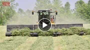 MOWING MERGING HARVESTING Alfalfa with Big Tractors