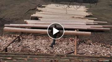 Building Off Grid Log Cabin - Ep 6 / Almost Done Preparing the Logs