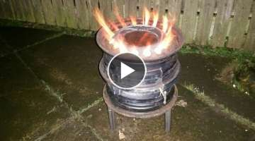 How to make a Garden wood burner from old car wheel