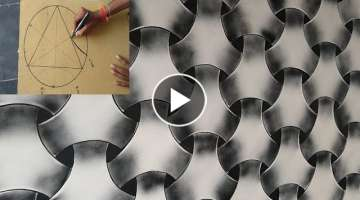 WALL PAINTING 3D EFFECT DESIGN ON BLACK SPRAY
