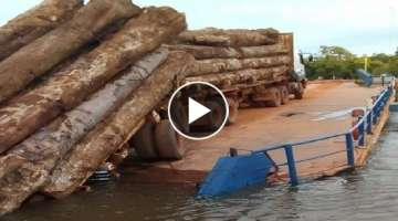 Amazing Dangerous Biggest Logging Wood Truck Operator Skill, Biggest Heavy Equipment Machine Work...