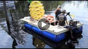 My $200 Homemade Pontoon Boat (55 Gallon Drums)