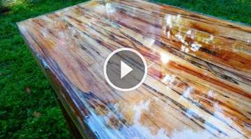 Super High Gloss Table from Tree Limb Repurposing Reclaiming prepper Woodworking UV CURE RESIN