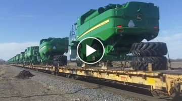 BNSF 6198 East- John Deere Combine Train