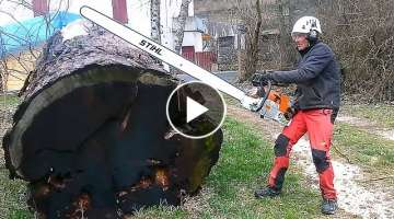 Incridible Fastest Skill Cutting Big Tree ChainSaw Machines, Cutting Logs, Milling Lumber Machine