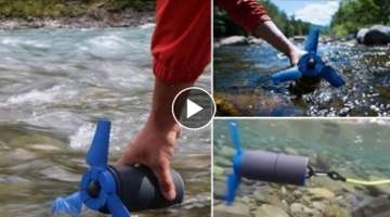 A portable water power generator fits into backpack