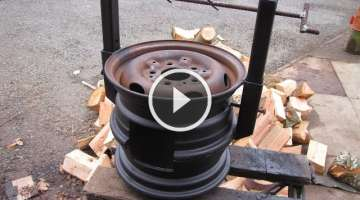 DIY Wood Stove made from Car Wheels! Easy Welding Project! Bacon! CATS!