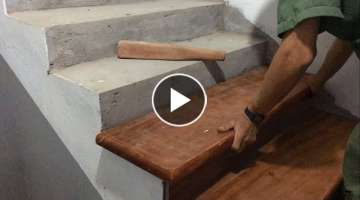 Amazing Technique Hardwood Processing For Stairs - Build and Installation New Stairs Treads