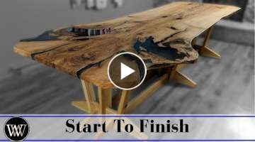 Making the Live Edge Slab Family Dining Room Table With Epoxy Fill For Video Edit