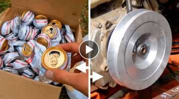 Homemade Pulley Made From Beer Cans - Melting Aluminum.