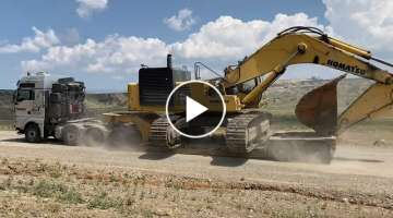 Transporting By Side The Komatsu PC800 Excavator - Fasoulas Heavy Transports